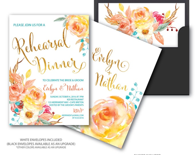 Fall Rehearsal Dinner Invitation // Bridal // Floral // Blue // Orange // Gold Foil // Yellow // Watercolor // CAPE BRETON COLLECTION