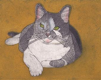 Original Collograph, Cat Art, Cat Print - Penelope 4