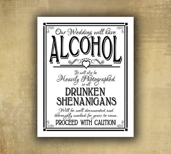 Printed Black and White Alcohol Drunken Shenanigans wedding bar sign, bar signage, wedding sign, traditional wedding signs, Wedding signage