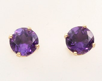 Amethyst Earrings, 14K Gold (14ER252)