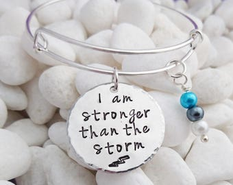 stronger than the storm, be stronger than, than the storm, charm bracelet, inspirational jewelry, adjustable bangle, encouragement gift