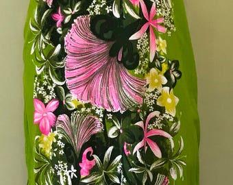 Vintage Hawaiian Holoku Dress, Size XS