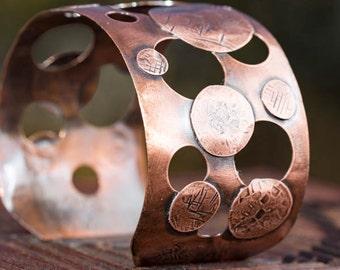 Copper Cuff Bracelet, Women's Cuff Bracelet, Copper Cuff With Holes, Copper Disc Cuff, Antiqued Copper Cuff, Ladies Wide Bangle Bracelet