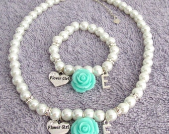 Personalized Flower Girl Necklace,Mint Green Flower,Flower Girl Necklce & Bracelet,Flower Girl Initial Jewelry,Rose Flower, Free Shippin USA