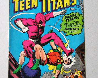 Old Comic Book, Teen Titans #5, 1960s, DC Comics, Robin the Wonder Boy, AquaLad, Kid Flash, Wonder Girl, Vintage Comic Book, Collectible