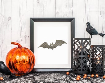 Bat silhouette, digital download, halloween printable, halloween decor, halloween wall art, printable halloween decor, bat art