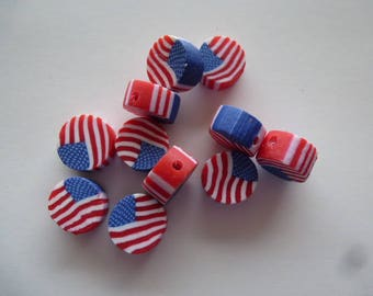 6 American flag for creating jewelry cowboy country style rondelle beads 10 mm polymer clay