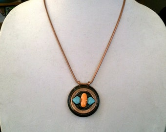 Southwestern Style Copper Turquoise Coral 3 Pill Pendant