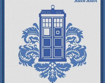 Cross Stitch Pattern TARDIS Doctor Who Police Box Time Machine Counted Cross Stitch Pattern / Instant Download Epattern PDF File