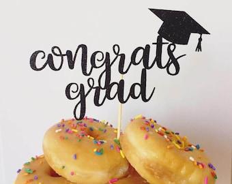 Congrats Grad Glitter Cake Topper, Graduation Cake Topper, College Graduation,High School Graduation Cake Topper 2017 GRADUATION CAKE TOPPER