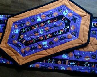 Halloween Table Runner Trick or Treat Decor Decoration Ghosts Pumpkins Bats Cobweb