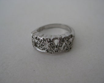 Love Rhinestone Ring Silver Vintage Size 4 1/2