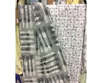 Arrow Crib Blanket - Flannel and Fleece Blanket