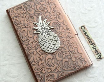 Silver Pineapple Card Case Copper Business Card Case Card Holder Gothic Victorian Card Case New Handcrafted Card Case Tropical Card Holder