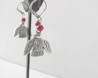 Thunderbird dangle earrings with red beads bright silver tone Native American gift for her, GBT318