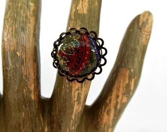 Round Art Deco Cabochon Ring