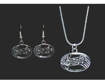 Staff and Notes Necklace and Earring Set, Music Jewelry, Music Necklace,Music Earrings