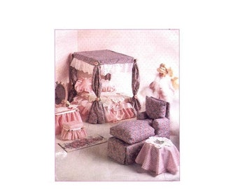 SALE Barbie Doll Furniture Living Room Bedroom Canopy McCalls 8140 Sewing Pattern UNCUT