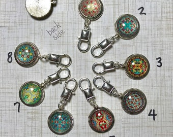 Zipper Pulls or Purse Charms, silver clip with glass cabochon, for use with jacket, hoodie, backpack, purse, coat, travel bag