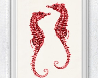 Red sea horses couple-Sealife  Wall decor poster- bathroom wall decoration- A4 art print SAS052