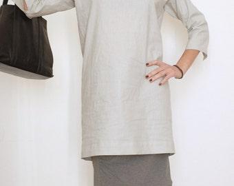 Linen Dress - Linen Tunic - Linen Womens Clothing - Linen Top - Minimal Clothing - Long Shirt Dress - Gray Short Dress - Raglan Sleeve