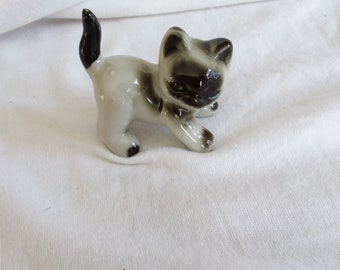 Vintage Porcelain Siamese Kitty Cat Figurine Made in Japan