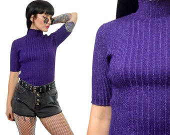 vintage 90s purple metallic knit top ribbed stretchy bodycon mock neck sweater stretchy cyber grunge pastel xs