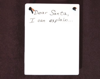 Dear Santa, I Can Explain! Memo Board Ceramic Tile Dry Erase Hanging Message Board