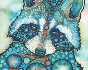 RACCOON 8.5 x 11 print of adorable watercolor painting artwork turquoise teal earth tones, animal portrait, cute halloween cutie