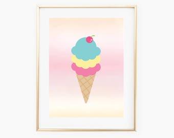 Ice Cream Wall Art, Ice Cream Printable, Ice Cream Decor, Ice Cream Art, Wall Print Download, Ice Cream Nursery, Ice Cream Art, Ice Cream