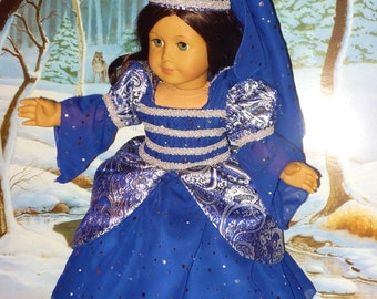 Sparkling Midnight Blue Princess Costume fits American Girl Dolls