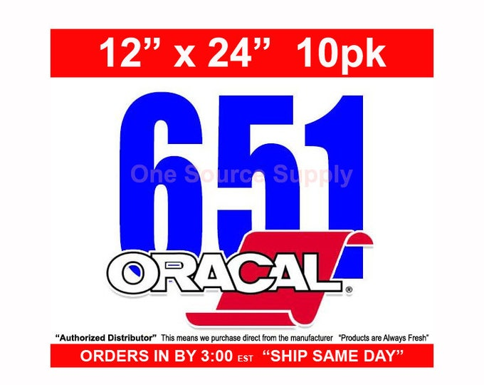 "12""x 24"" / 10-sheets / Oracal 651 Gloss Finish Vinyl - Outdoor Vinyl - Craft Vinyl - Vinyl"