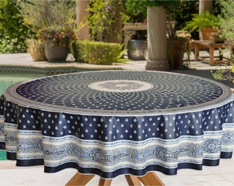 Indoor - Outdoor Marine and off White Nimes Round Tablecloth.. 70 inches Round -  Umbrella Hole available.