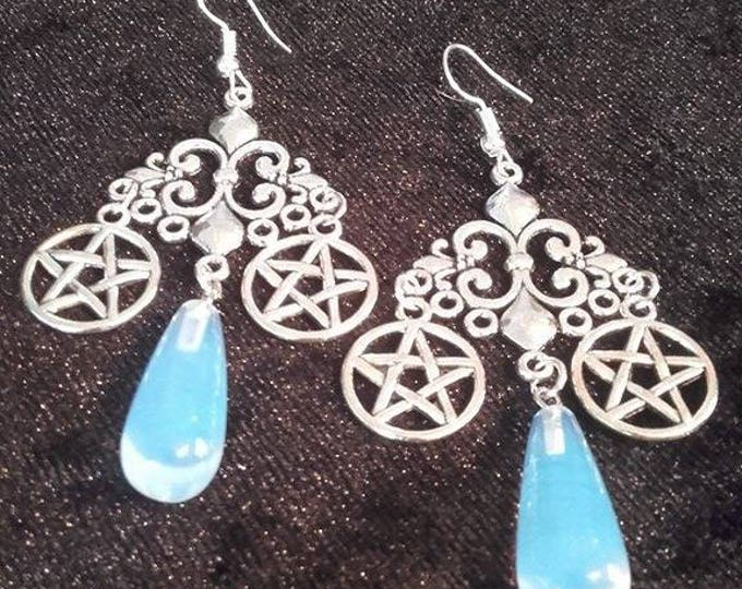 Opal Witch Earrings - pentagram cluster wiccan occult
