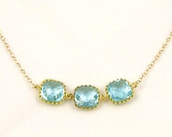 Simple Aqua Wedding Necklace, Light Blue Crystal Necklace, Aqua Bridesmaid Jewelry, Destination Wedding, Beach Wedding, Aqua Wedding Theme