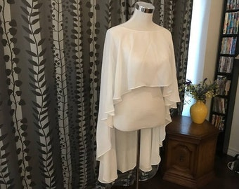 Chiffon Capelet, Sheer Cover-up, Wedding Bolero, Snow White/Off-white/Champagne, Ready-to-ship__CU19