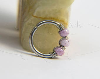 16G 18G 20G Pink Marble Nose Hoop Ring or Cartilage Earring