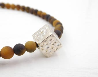Tigers Eye beaded gemstone necklace-modern necklace-textured silver necklace-geometric jewellery