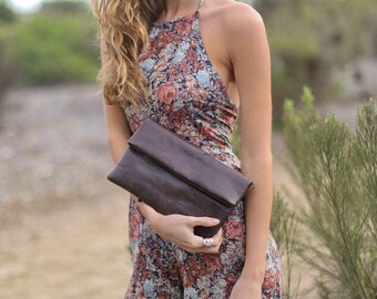 Fold Over Wallet * Leather * Dark Brown * Small Purse * Bag * Clutch * Convertible Strap * Cross Body * Handmade * Minimalist *Casual  BP024