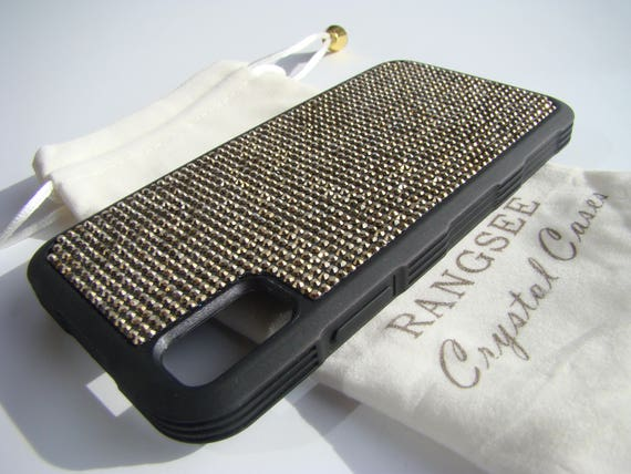 "iPhone X Case , Gold Dorado Rhinestone Crystals on Black ""Tire"" Rubber Case. Velvet/Silk Pouch Bag Included, ."