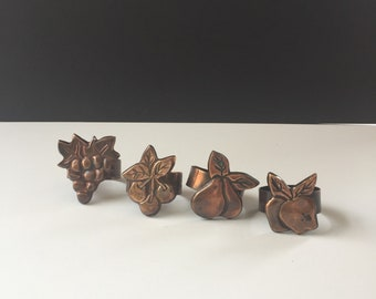 Retro Set of 4 Copper Napkin Rings