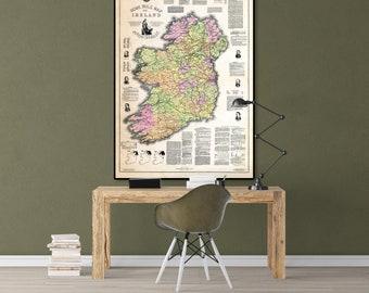 Old Map Of Ireland, Vintage Map Of Ireland, Ireland Map Poster, Ireland Print, Ireland Gifts, Ireland Decor, Ireland Poster, Irish Gifts