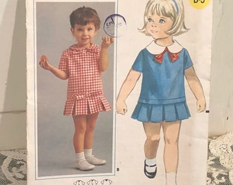 1960's Vintage Butterick Pattern Girls Dress~ Size 1/2 Unused Old Store Stock~Adorable!