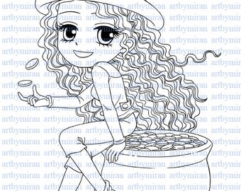 Digital Stamp-Lucky Lucy, Digi Stamp, Coloring page, Printable Line art for Card and Craft Supply, Art by Mi Ran Jung