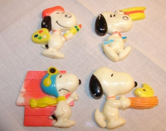 Snoopy Magnets 1960's Snoopy Refrigerator Magnets