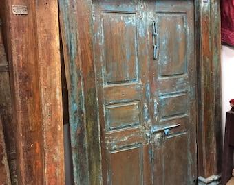 Indian Antique Original Sanskrit Om Doors Blue Patina Reclaimed Teak Doors & Frame Hotel Design Meditation Yoga Zen Sacred Space Decor