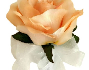 Peach Open Silk Rose Corsage - Wedding Corsage Prom