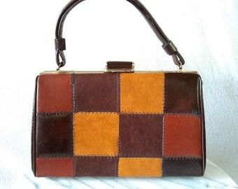 Vintage Brown Fall Patchwork Vinyl Handbag