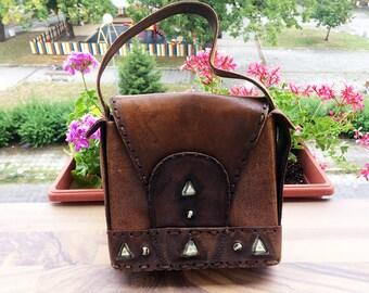 Vintage leather bag Handbag Мessenger bag Tote bag Distressed bag Retro bag Leather case Womans bag Leather purse Old bag Gift for her