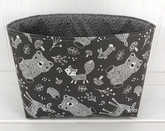 Woodland Nursery Storage Basket Fox Nursery Decor Baby Shower Gift Animals Brown Gray Deer Bears Fox Fawn Bear